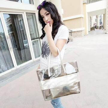 Fashion Womens Transparent Clear Tote Jelly Candy Handbag Beach Bag for Lady NEW