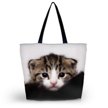 Cute Cat Girl's Shopping Shoulder Bags Women Handbag Beach Bag Tote HandBags
