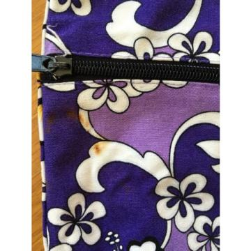"Reversible Purple/Gray Hawaiian Print Tote Beach Bag 15""x16"""