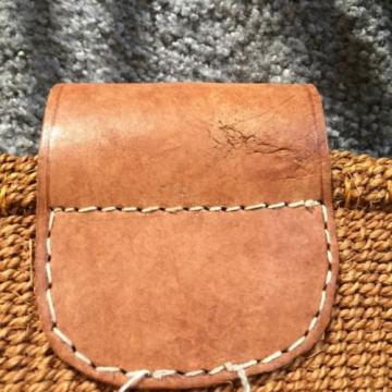 Woven Sisal Jute Leather Handle Flap Women Boho Hippie Tote Beach Summer Bag