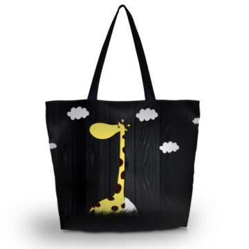 Giraffe Travel Shopping Tote Beach Shoulder Carry Hobo Bag Women Black Handbag