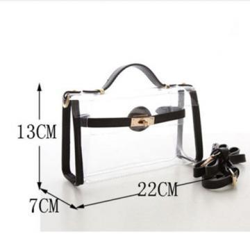 2PCS Women Girl PVC Clear Transparent Handbag Shoulder Bag Jelly Candy Beach Bag