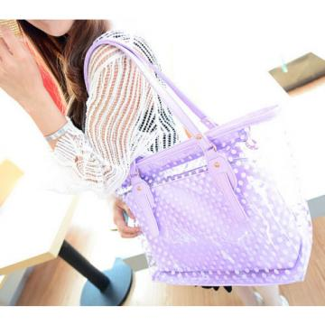 Fashion Clear Shoulder Bags Transparent Tote Beach bag Womens Dot Handbag New