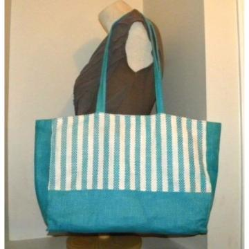 Pretty! Bright Turquoise Blue & White Stripe Summer Tote/Shopper/Beach-Pool bag.