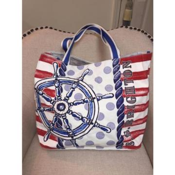 BRIGHTON ANCHOR NAUTICAL SAIL AWAY CANVAS TOTE BEACH BAG NEW*