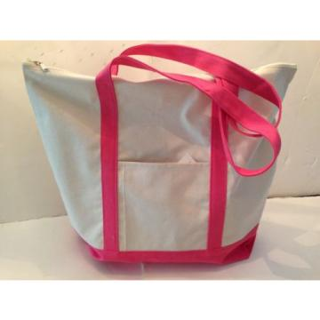 LARGE zippered CANVAS beach cotton natural tote bag pocket HOT PINK  trim NEW