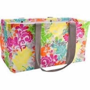 Defect Thirty one Large utility beach storage tote bag 31 gift Island Damask