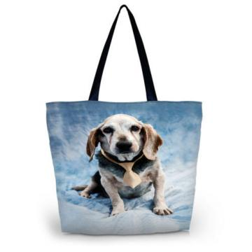 Dog Women Shopping Bag Tote Shoulder Bag Folding Beach Handbag Eco Satchel