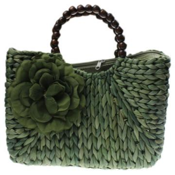 Women's Handmade Summer Beach Straw Flower Bead Shopping Purse Tote Bag Handbag