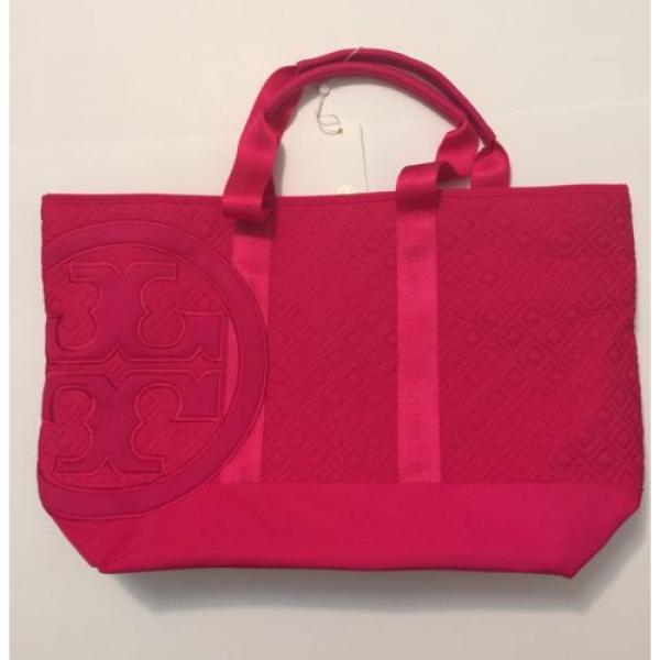 NEW Auth Tory Burch LARGE Marion Quilted Nylon beach Tote Shoulder Bag hot Pink #1 image