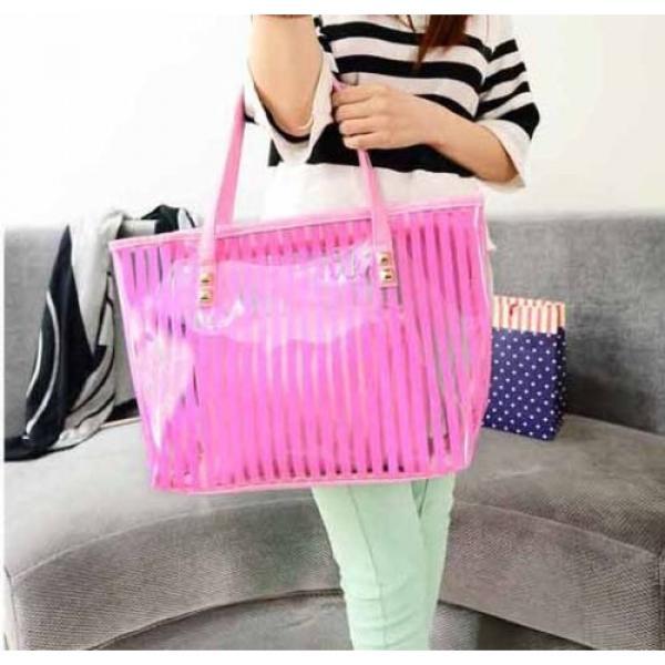 Clear Striped Transparent Shoulder Bag Tote New Women Jelly Beach Handbag Purse #1 image