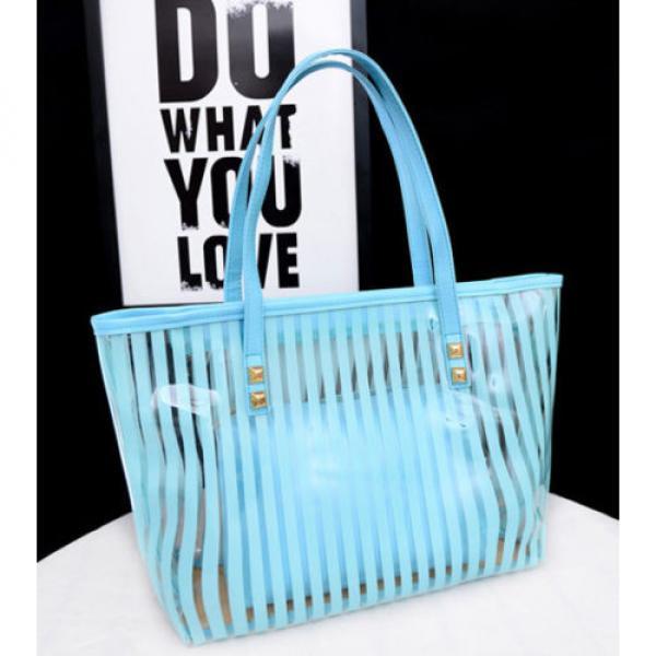 Clear Striped Transparent Shoulder Bag Tote New Women Jelly Beach Handbag Purse #2 image