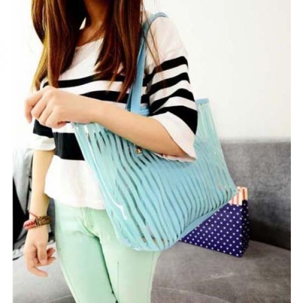 Clear Striped Transparent Shoulder Bag Tote New Women Jelly Beach Handbag Purse #3 image