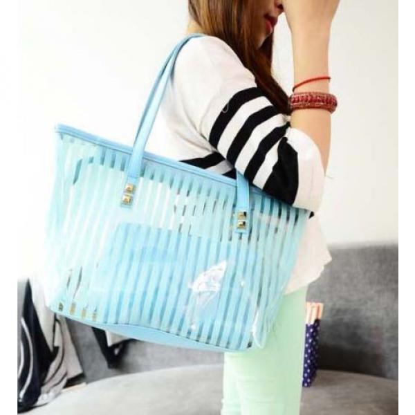 Clear Striped Transparent Shoulder Bag Tote New Women Jelly Beach Handbag Purse #4 image