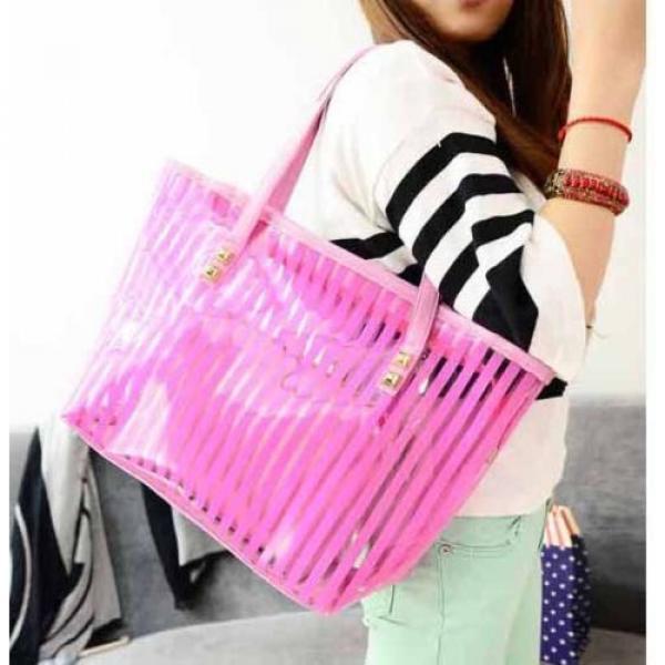 Clear Striped Transparent Shoulder Bag Tote New Women Jelly Beach Handbag Purse #5 image