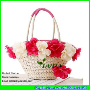 LDYP-093 red floral beach straw tote bag
