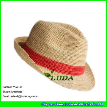 LDMZ-004  natural raffia straw crochet beach sun hats red striped raffia hats