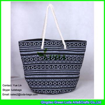 LDFB-011 black and white mixed woven sadu beach tote bags