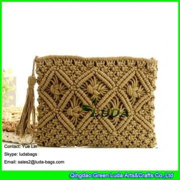 LDMX-008 hand fasten cotton rope handbag new design high quality macrame clutch bag