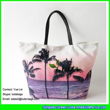 LDFB-052 Tropical sunset print tote bag large women canvas tote beach bags