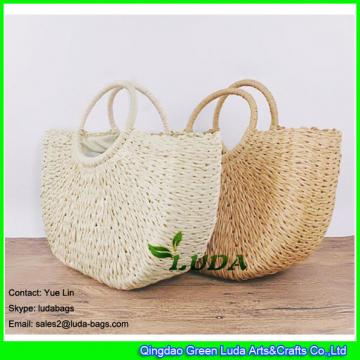 LDZS-099 2018 new hand plaited tote bag natural paper straw bags
