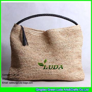 LDLF-016 classical women hobo bag handmade natural raffia straw tote bag