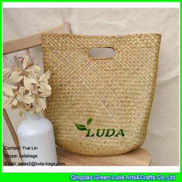 LDSC-167 Simple natural straw tote bags hand plaited handle curve straw beach bag