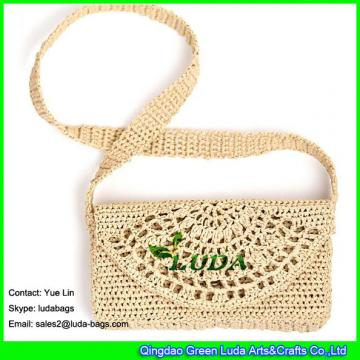 LDLF-045  2018 new designer raffia clutch pattern crocheted raffia straw handbags