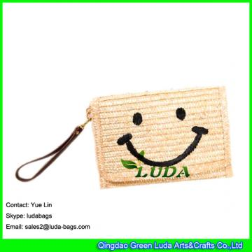 LDMC-123  classical embroidery women's clutch bag cute smile face straw shoulder bag fashion beach clutch bags