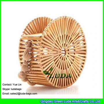 LDTT-061 2018 new designer handbag fashionable round street style bamboo straw bag