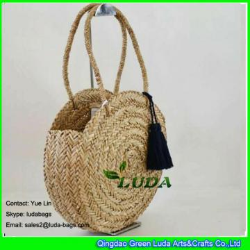 LDSC-150 hot sale hand plaited straw bag natural seagrass summer beach straw bags
