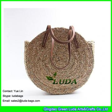 LDSC-147 women's classical straw summer sea shoulder bag round beach straw bags and totes