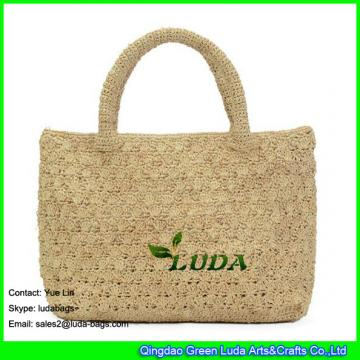 LDLF-009  raffia crochet  new pattern womens' crocheted tote square shopping bag