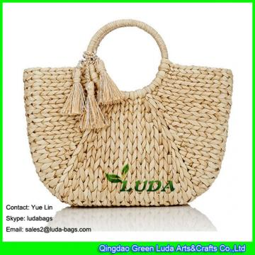 LDYP-027 natural beach bags hand plaited women cornhusk straw tote bag