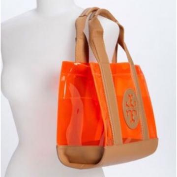 Rare Large Tory Burch Jesse Tote, Handbag, Beach Bag Tan & Neon Orange Jelly
