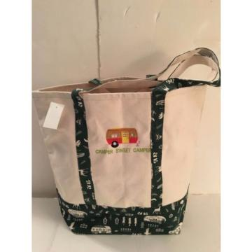 LARGE CAMPING CANVAS beach cotton WOODS tote bag EMBROIDERED GREEN RV CAMPER NEW