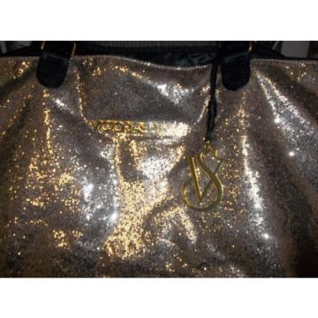 Victoria's Secret Gold Fantasy Glitter Handbag Purse Large Beach Tote Bag RARE