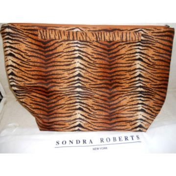 Sondra Roberts Tiger Print Beach Carry-all Large Purse Travel Bag w/ Dustbag