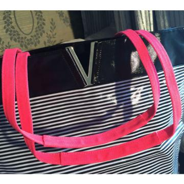 Victoria's Secret Black & White Striped Beach Shoulder Bag Tote Bag LARGE