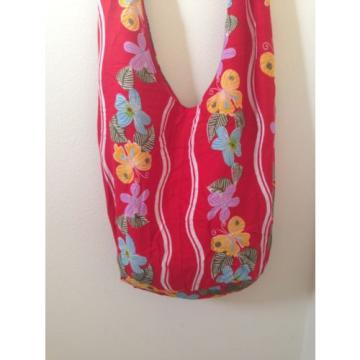 Adjustable Floral Red Hobo Crossbody Sling Shoulder Bag Travel Beach Casual