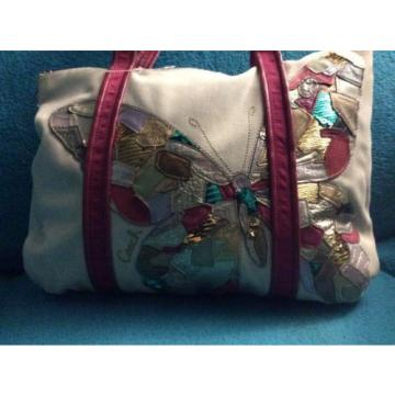 COACH 14539 POPPY CANVAS TOTE SHOPPER BAG PURSE Beach Bag Butterfly