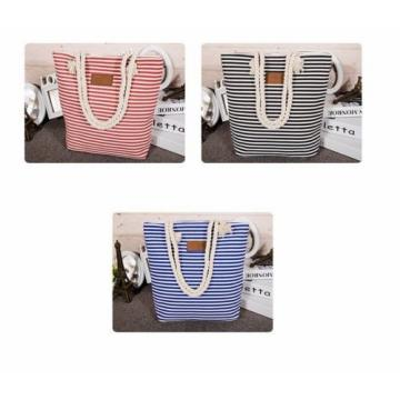 Spring Summer Fun Beach Bunny Bag Canvas Satchel Casual Striped Shopping Bag