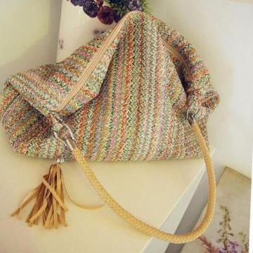 Fashion Women Colorful Vintage Straw Tote Bag Handbag Summer Beach Shopping New