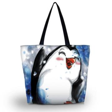 Cute Penguin Printed Beach Tote Shoulder Bag Purse Handbag Travel School Bag