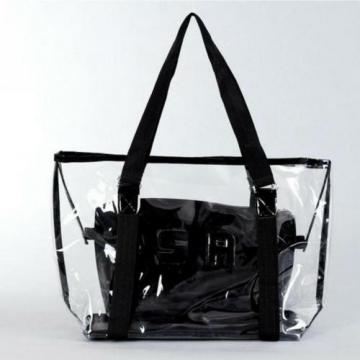 Summer Beach Bag Women Large Clear Transparent Shoulder Handbag Black Tote Purse