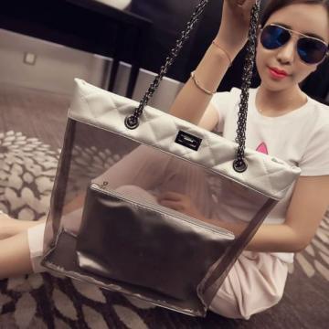 Womens Jelly Clear Transparent Tote Shoulder Bags Handbag Chain Bag Beach Purse