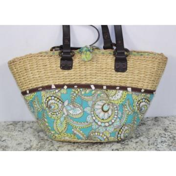 Womens Vera Bradley Authentic Large Straw Peacock Beach Bag Tote Handbag Purse