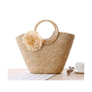 Summer Style Beach Rattan Women Handbag Flowers Vacation Bag