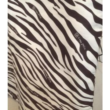LINEA PELLE Brown & Ivory Canvas Zebra Print Shopper Tote High Fashion Beach Bag