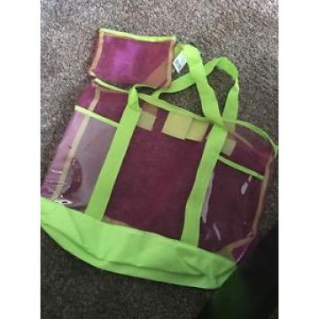 NWT! Green Pink Plastic Mesh Beach Bag